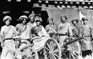 Tibetan troops in Riwoche with captured guns