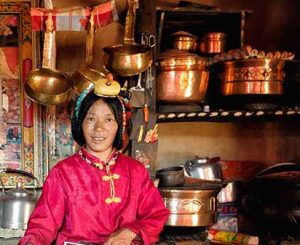 The kitchen and its stove is where TIbetans spend most of their time when at home. It keeps them warm. There their wealth is measured by the amount and quality of the pots they own. Remote Tibetan plateau